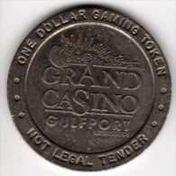 $1 Gaming Token : Jeton Slot Machine : Grand Casino : Gulfport MS 1993 - Casino