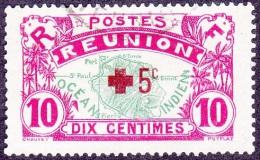 Réunion Obl. N°  82 - Réunion - Carte De L'ile - 10 Cts Rose Et Vert + Croix Rouge - Réunion (1852-1975)