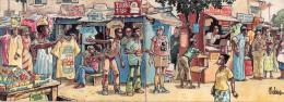 """Carte Double """"passage Du Paris-Dakar"""" Place Africaine Avec Vendeurs Et Touristes, Belle Animation, (22.67)) - Humour"""