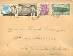EXPOSITION PHILATELIQUE 1937 VIGNETTE MERMOZ YT 339 SUR ENVELOPPE LA GARENNE COLOMBES - Marcophilie (Lettres)