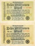 Deutschland, Germany - 2 X 10 Mio. Mark, Reichsbanknote, Ro. 105 A & C, UNC & VF, 1923 ! - 1918-1933: Weimarer Republik