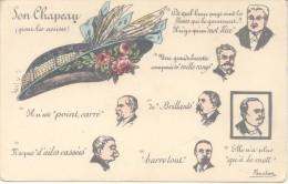 SON CHAPEAU ( POUR LES ASSISES ) - De quel beau pays sont les fleurs qui le garnissent ? ILLUSTRATEUR FERCHAN