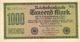 Deutschland, Germany - 1 X 1000 Mark, Reichsbanknote, Ro. 75 K , VF ( III ) 1922 ! - 1918-1933: Weimarer Republik