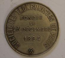 Médaille Socité Des Trombonnistes De Paris 1894 Attribuée à Louis Sournais - Professionals / Firms