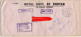 Bhutan Registered Letter To France Lettre Recommandée Royal Government  G.P.O.Thimphu Thimphou On Postal Service Bouthan - Bhutan