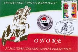 """Italia 2006 Cartolina Con Annullo Speciale Operazione """"Antica Babilonia"""" Missione Militare Italiana Di Pace In Iraq - Militaria"""