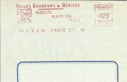 Lettre Flamme EMA Satas Sc 1960 Petrole Huiles Goudrons Derivés Gedelite Plastylene  Thematique 75 Paris A23/20 - EMA (Empreintes Machines à Affranchir)