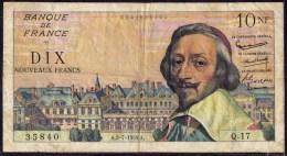BILLET De FRANCE - 10 NF ( Nouveaux Francs). RICHELIEU - A.02- 07 - 1959 .A - 35840 - Q17. - 1959-1966 Nouveaux Francs