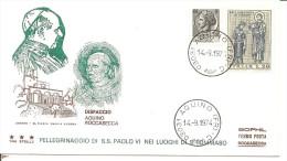 ITALIA - 1972 Visita Papa PAOLO VI Ad Aquino + Targh.mecc. Roccasecca Al Retro Su Busta Speciale Tre Stelle - 2243 - Papas