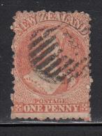 New Zealand Used Scott #16 1p Victoria, Orange Vermilion Wmk: Large Star Perf: 13 - 1855-1907 Crown Colony