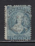 New Zealand Used Scott #32a 2p Victoria, Blue, Worn Plate Wmk: Large Star Perf: 12.5 - Oblitérés