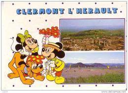 CLERMONT L´HERAULT -  Vue Générale - Lac Du SALAGOU -  Illustration  MICKEY Et MINIE  N° S 3 - Clermont L'Hérault