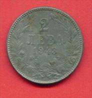 F3972 / - 2 Leva - 1943 - Bulgaria Bulgarie Bulgarien Bulgarije - Coins Monnaies Munzen - Bulgaria