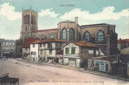 RHONE ALPES - 42 - LOIRE - ROANNE- Eglise Saint Etienne Et Vieilles Maisons - Colorisée - Roanne