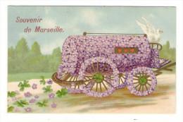 BOUCHES-DU-RHÔNE  /  SOUVENIR  DE  MARSEILLE  ( Carte Gaufrée, Belle Fantaisie : Colombe, Violettes Et Trèfles ) - Non Classificati