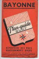 PLAN GUIDE BAYONNE - Répertoire Des Rues, Renseignements Divers - 2e Trimestre 1954 - Cartes