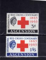 ASCENSION ASCENSIONE 1963 RED CROSS CENTENARY 1863 CROCE ROSSA CENTENARIO MNH - Ascensione