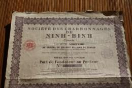 1926-société Des Charbonnages De NINH-BINH (Tonkin ) Indochine Part Fondation Porteur  Titre Action Scripophilie - Asie