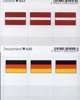 In Farbe 2x3 Flaggen-Sticker Deutschland+Lettland 4€ Kennzeichnung Alben Karten Sammlung LINDNER 630+653 Germany Latvija - Postales