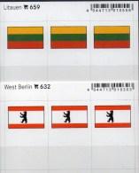 In Farbe 2x3 Flaggen-Sticker Berlin+Litauen 4€ Kennzeichnung Alben Karte Sammlung LINDNER 632+659 Flag Germany Lithuiana - Postales