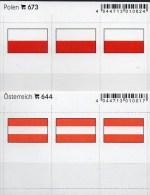 In Farbe 2x3 Flaggen-Sticker Austria+Polen 4€ Kennzeichnung Alben Karten Sammlung LINDNER 644+673 Flag Polska Österreich - Postales