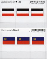 In Farbe 2x3 Flaggen-Sticker 3.Reich+Liechtenstein 4€ Kennzeichnung Alben Karte Sammlung LINDNER 640+628 Flag FL Germany - Postales