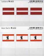 In Farbe 2x3 Flaggen-Sticker Berlin+Lettland 4€ Kennzeichnung Alben Karten Sammlung LINDNER 632+653 Flag Latvija Germany - Postales