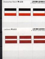 2x3 In Farbe Flaggen-Sticker Lettland+3.Reich 4€ Kennzeichnung Alben Karte Sammlung LINDNER 628+653 Flag Latvija Germany - Materiali