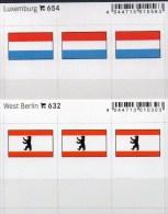 2x3 In Farbe Flaggen-Sticker Luxemburg+Berlin 4€ Kennzeichnung Alben Karten Sammlungen LINDNER 632+654 Flags Germany Lux - Materiali