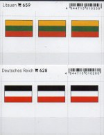 2x3 In Farbe Flaggen-Sticker Litauen+DR 4€ Kennzeichnung Alben Karten Sammlungen LINDNER 659+628 Flags Germany Lithuiana - Materiali