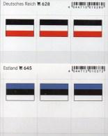 2x3 In Farbe Flaggen-Sticker Estland+3.Reich 4€ Kennzeichnung Alben Karten Sammlungen LINDNER 645+628 Flag Germany Eesti - Materiali