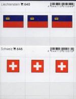 2x3 In Farbe Flaggen-Sticker Liechtenstein+Schweiz 4€ Kennzeichnung An Alben Karten Sammlung LINDNER 640+646 Helvetia FL - Materiaal