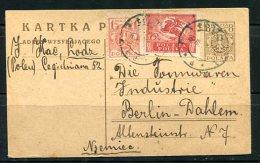 Poland 1922 Uprated Postal Card Lodz- Berlin - 1919-1939 Republic