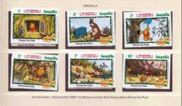 ANGUILLA 1982, 1+2+3+5+7+10c ** Weihnachts Sondermarken Mit Walt Disney-Serie Winnie The Poch - Antillen