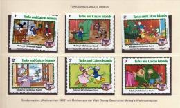 TURKS AND CAICOS INSELN 1982, 1+1+2+2+3+3c ** Weihnachts Sondermarken Mit Walt Disney-Geschichte Mickey's Weihnachtsjube - Grossbritannien (alte Kolonien Und Herrschaften)