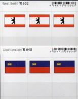 2x3 In Farbe Flaggen-Sticker Liechtenstein+Berlin 4€ Kennzeichnung Alben Karten Sammlung LINDNER 632+640 Flag Germany FL - Materiaal