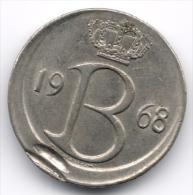 Belgium : 25 Centimes 1964 Dutch Legend - Strike Error & Off-center - 1951-1993: Baudouin I