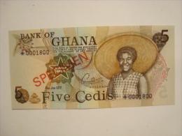 GHANA - Billet De 5 Cedis Specimen 2-1-1977 - P.15s - état Neuf/UNC  N°0001800  Rare - Ghana