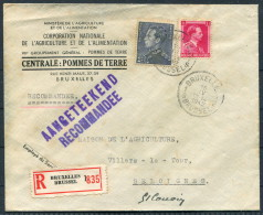 1942 Belgium Bruxelles Registered Advertising Cover Minisere De L'Agriculture Pommes De Terre Potato Farming - Advertising