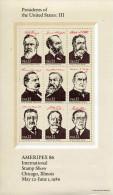 """Feuillet** De 1986 De 9 Timbres Gommés """"Ameripex 86 - Présidents Des Etats-Unis Et Leurs Signatures"""" (YT 1650 à 1656) - Vereinigte Staaten"""