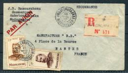 1953 Madagascar Ambatondrazaka Registered Airmail Cover - Nantes France - Madagascar (1889-1960)