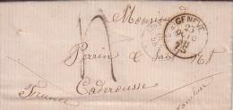 SUISSE - DE GENEVE LE 10-10-1858 - AMBULANT LYON A MARSEILLE A + TAXE 4 MANUSCRITE -LETTRE POUR CADEROUSSE VAUCLUSE. - Marcophilie (Lettres)