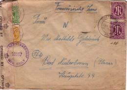 GUERRE 39-45 - OCCUPATION FRANCAISE - DE DORMOUND 25-4-1946 - BANDE DE CENSURE -MANQUE UN TIMBRE. - Poststempel (Briefe)