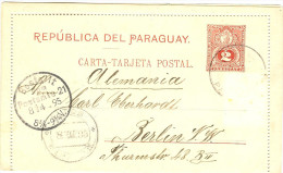 LAC5 - PARAGUAY  EP CL 2c VOYAGEE MARS 1895 TPM ENLEVE - Paraguay