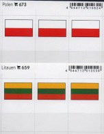 In Farbe 2x3 Flaggen-Sticker Polen+Litauen 4€ Kennzeichnung Alben Karten Sammlung LINDNER 673+659 Flags Polska Lithuiana - Télécartes