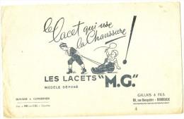BUVARD Textile - Les Lacets MG - Gallais Et Fils BORDEAUX  Petits Plis - Textile & Vestimentaire