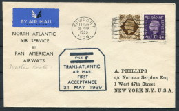 1939 GB Newport Wales North Atlantic Air Service Pan American Flight Cover - Southern Route - Canada - Black Cachet - 1902-1951 (Kings)