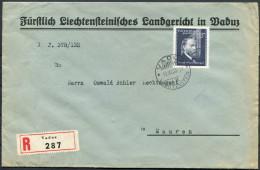 1938 Liechtenstein Vaduz Josef Rheinberger Registered Cover - Mauren - Liechtenstein