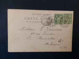 41/760      CP  FRANCE POUR LA BELG.   1900   MENTON - Postmark Collection (Covers)