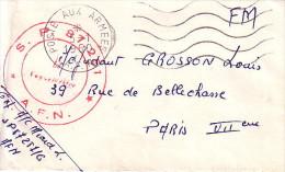 AFN - SP87251 + CACHET POSTES AUX ARMEES LE 5-1-1960 - LETTRE POUR PARIS. - Guerra D'Algeria